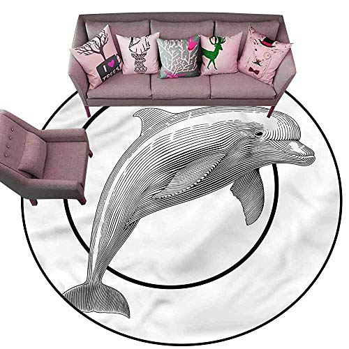 Bedroom Living Room Area Rug Nautical,Jumping Dolphin and Ring Diameter 48