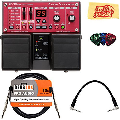 Boss RC-30 Loop Station Bundle with Instrument Cable, Patch Cable, Picks, and Austin Bazaar Polishing Cloth (Boss Rc 30 Dual Track Looper Loop Station)