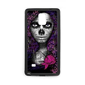 Diy Beautiful Girl Sugar Skull Custom Cover Phone Case for samsung galaxy note 4 Black Shell Phone [Pattern-4]
