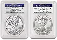 2021 (W) Set of (2) 1 oz American Silver Eagle Coins MS-70 (Type 1 & Type 2 - First Strike - Struck at The
