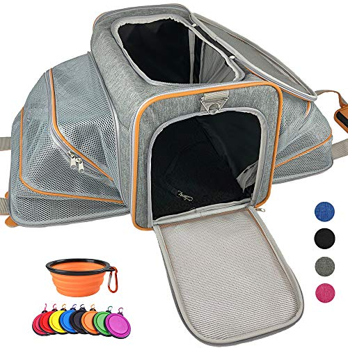 Adorabae Airline Approved Expandable Soft Sided Pet Carrier Luxury Two Side Expansion for Cats and Small Dogs Grey