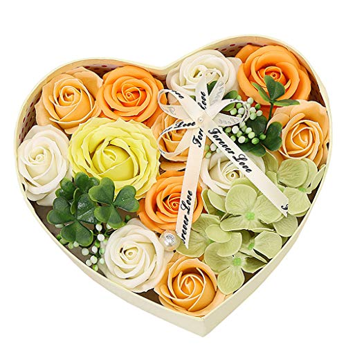 Winner666 Creative Cross-Border Mother's Day DIY Soap Flower Gift Rose Box Bouquet Wedding Home Festival Gift (Yellow)