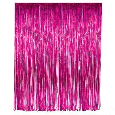 3 Red Birthday Roses - LECMARK 3 ft X 8 ft Rose Red Foil Fringe Tinsel Curtains Door Window Curtain Wedding Photography Backdrop Birthday Party Decoration (ROSE RED)