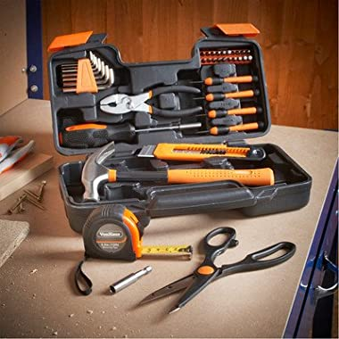 VonHaus Orange 39-Piece Homeowner Tool Set - General Household Hand Tool Kit with Plastic Toolbox Storage Case