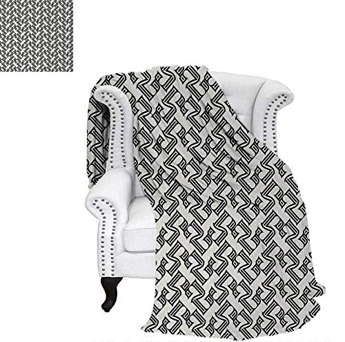 Digital Printing Blanket Linear Grid from Striped Elements Geometric Monochrome Elements Pattern Summer Quilt Comforter 62