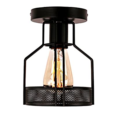 Unitary Brand Rustic Black Metal Cage Shade Single Semi Flush Mount Ceiling Light with 1 E26 Bulb Socket 40W Painted Finish