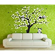 AmazingWall 220x180CM/78.7x70.9  Sakura Tree Panda Wall Sticker Living Room Kids' Room Nursery Decor Home Decorations Diameter 1PCS/SET