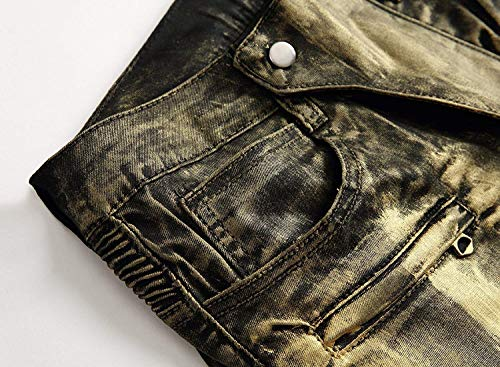 Oro Pantaloni Da Fit Slim Jeans Media Denim Uomo Vintage A Stretch Moto Vita Casual Dritti In ZgSSBvqwf