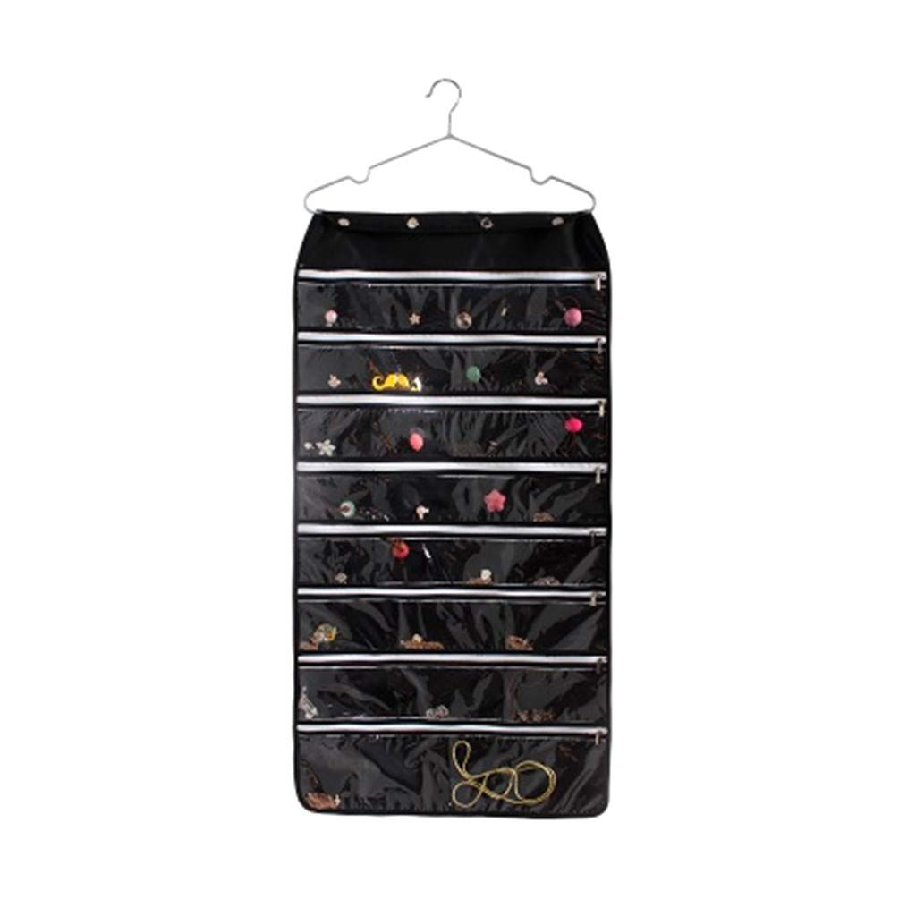 Hanging Jewelry Organizer Bag, Gunel Thick Oxford Fabric, Zippered Storage, Clear PVC Plastic Windows, Roll-Up, Portable Travel, Rings, Earrings, Necklaces (Black) by Gunel home