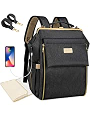Diaper Bag Backpack Waterproof Travel Back Pack Multifunction Maternity Baby Bags Large Capacity Nappy Bags with Changing Pad, Insulated Pocket, USB Charging Port, Stroller Straps, Black