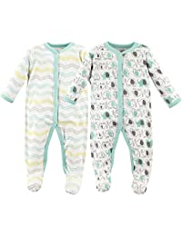 Baby Cotton Snap Sleep and Play, Elephants 2 Pack, 0-3 Months