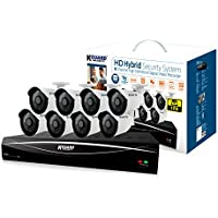 Kguard Full HD Hybrid Series 8 Channel HD881-8WA713A-1TB with 8pcs 1MP Cameras, Dropbox, Supports OnVif WiFi IP Cams, DIY Home/Office Surveillance System