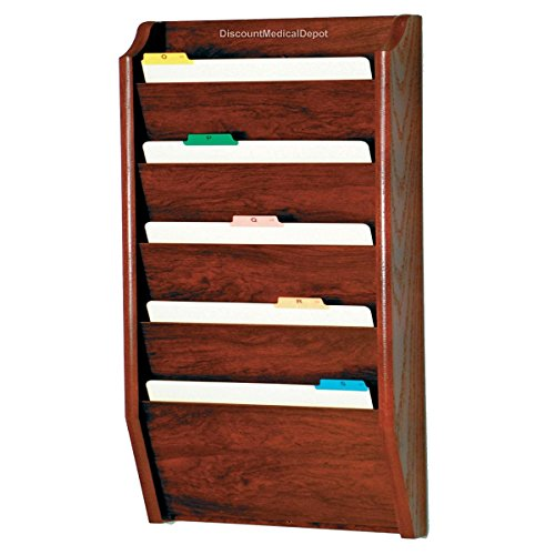 DMD File Holder, Wall Mount Patient Chart Rack, 5 Pocket Wooden Legal Size, Mahogany