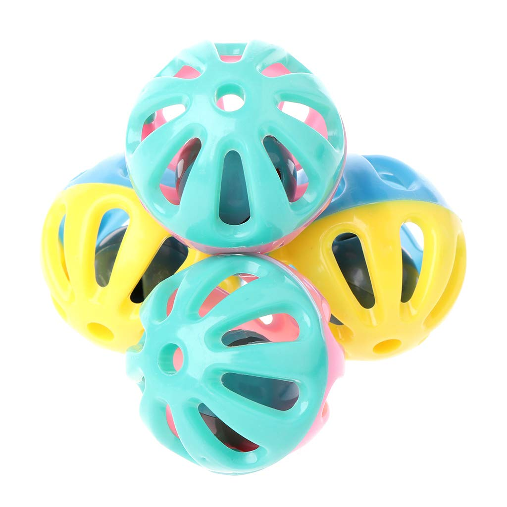 Jiay 10 Pcs Chat Jouet Hamster Chinchillas Chats Chien en Plastique Rond Creux Double Couleur Cloche Jouets Balle