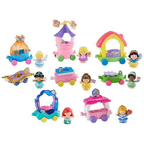 (Fisher-Price Little People Disney Princess Magical Parade,Includes Cinderella, Ariel, Snow White, Belle, Aurora, Rapunzel and Tiana with their Unique Individual Carriages, Help Develop Children's Fine)