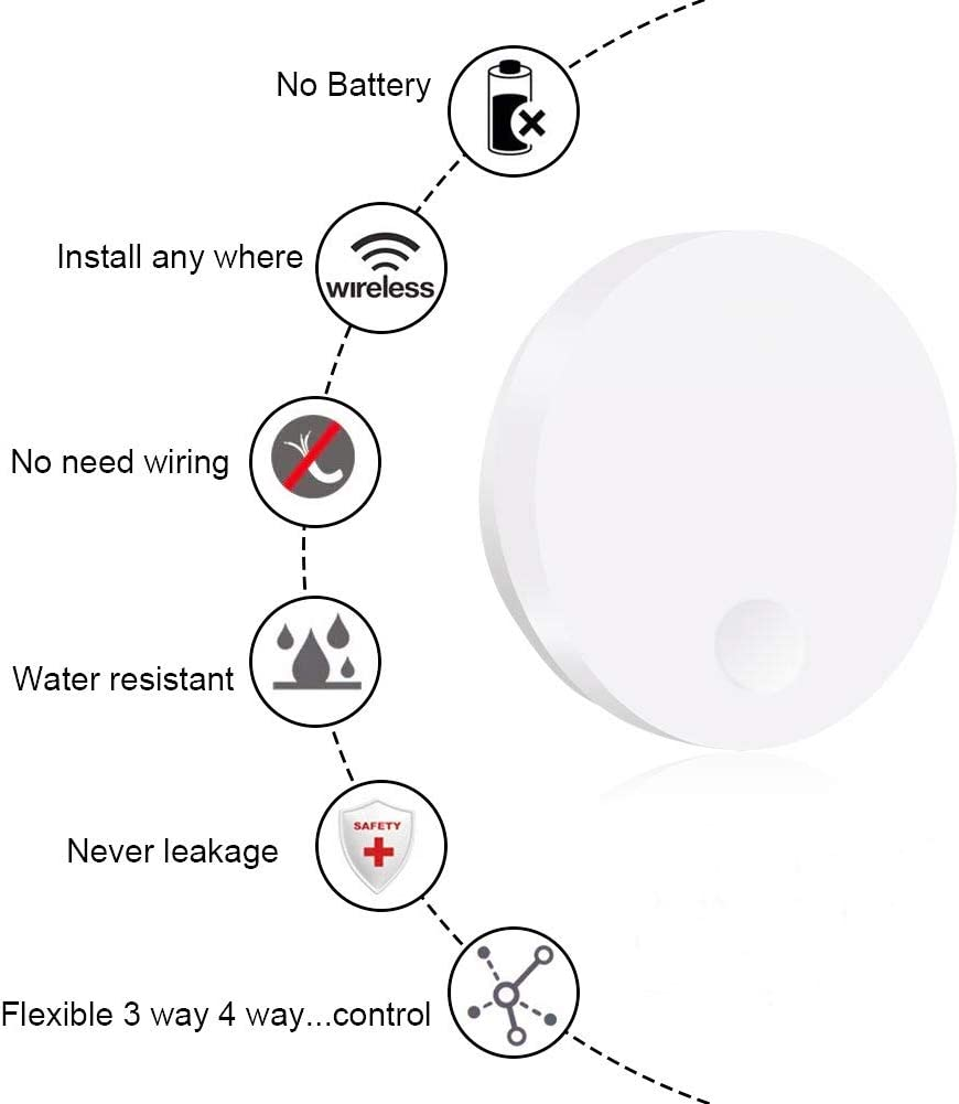 Kit dinterrupteur d/éclairage sans fil Petame pas de batterie,pas de c/âblage cr/éation rapide de 150 pieds Plage de fonctionnement de la lampe,/éclairage domestique avec t/él/écommande auto-aliment/ée