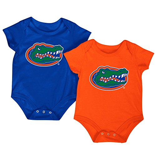 Colosseum NCAA Short Sleeve Bodysuit 2-Pack-Newborn and Infant Sizes-Florida Gators-0-3 Months