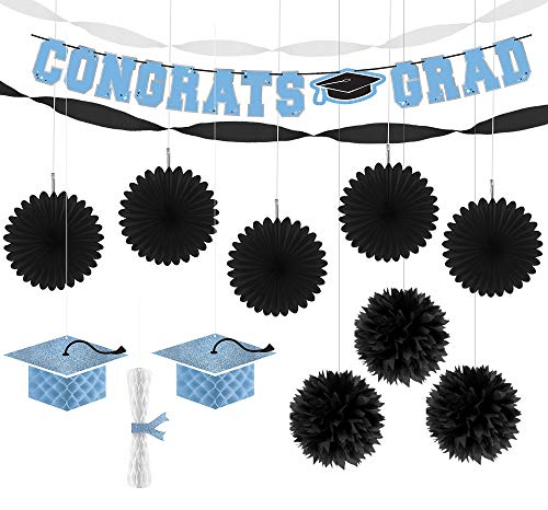Party City Congrats Grad Powder Blue 2019 Graduation Hanging Decoration Supplies with Pom Poms, Paper Fans, and Banner