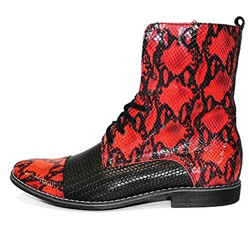 PeppeShoes Modello Kartello - Cuero Italiano Hecho A Mano Hombre Piel Rojo Botas Altas - Piel de Cabra Cuero Repujado - Encaje