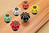 SunKni 40mm 6Pcs Pumpkin Shape Knobs Ceramic Drawer Handles Pulls for Wardrobe Cupboard Dresser Cabinet Closet Kitchen Furniture with Free Screws 2015 New Sets Pack of 6 Different Colors