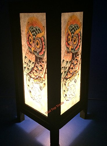 DIY Lamps Thai Vintage Handmade Asian Oriental Fantasy Owl Wood Paper Lamp 11'' Only Nicky Shop by Siam Table Lamp