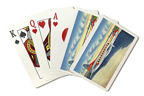 (View of Western Airlines Plane in the Air (Playing Card Deck - 52 Card Poker Size with)