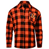 FOCO CINCINNATI BENGALS LARGE CHECK FLANNEL SHIRT - MENS MEDIUM