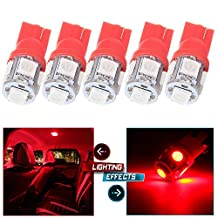 CCIYU 5x T10 W5W 194 5050SMD Side Wedge License Interior LED Light Lamps Red 2450 2652 2921 2825