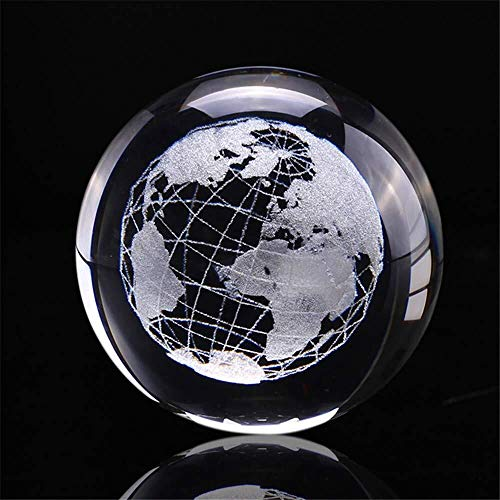 (Haomao 60mm 3D Laser Earth Four Leaf Clover Engraved Rose Crystal Ball Miniature Flower Globe Glass Sphere Home Decoration Ornament (Earth))