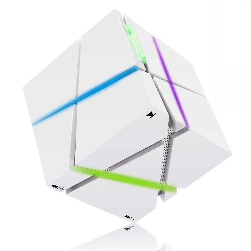 TENDOO   Cube Portable Wireless Bluetooth Speaker with Flashing Lights / Microphone / Radio, White