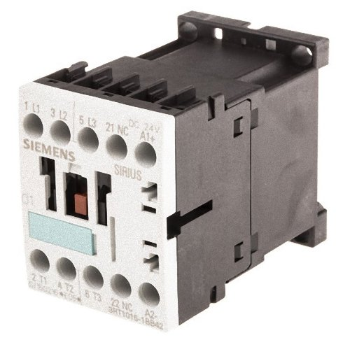 Siemens 3RT10 15-1BB42 Motor Contactor, 3 Poles, Screw Terminals, S00 Frame Size, 1 NC Auxiliary Contact, 24V DC Coil (3 Pole Motor)