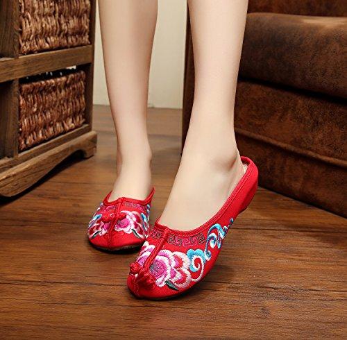 DESY Gestickte Schuhe, Sehnensohle, ethnischer Stil, weiblicher Flip Flop, Mode, bequeme, lässige Sandalen , red , 40