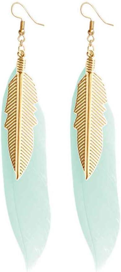 1.5 cm Pendientes Colgantes de Plumas con peque/ños Pendientes de Plumas de Color Dorado para Mujeres 9
