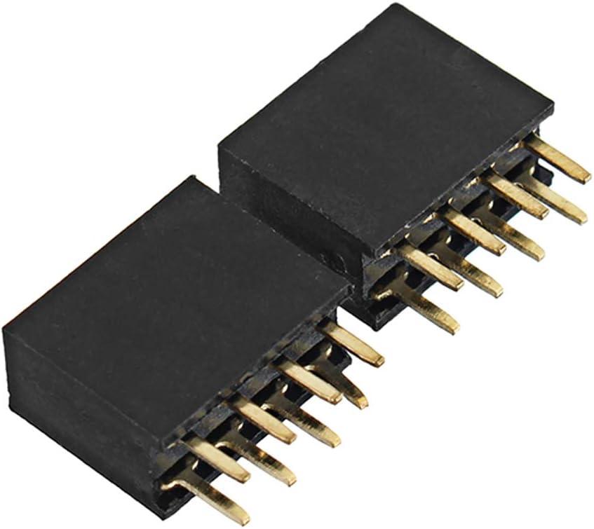 LaDicha 50Pcs 2.54Mm 2X4P 8P Double Rang/ée F/éminine Droite Droite en-T/ête Aiguille Socket Pin Strip