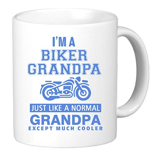 I'm Biker Grandpa. Just Like a Normal Grandpa Except Much Cooler. Funny Unique Harley Inspired Novelty Coffee Mug Cup Motorcycle Birthday Gift Present for Him. by KTM