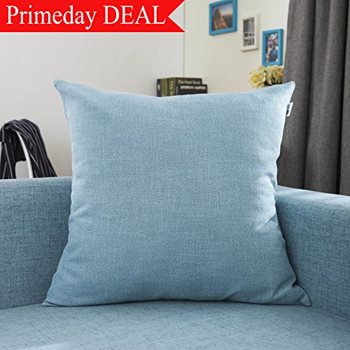 Kevin Textile Breathable Soft Linen Square Throw Pillow Case Cushion Cover for Kids/Bed,(61cm) 24 inch, Light Blue, 1 Piece