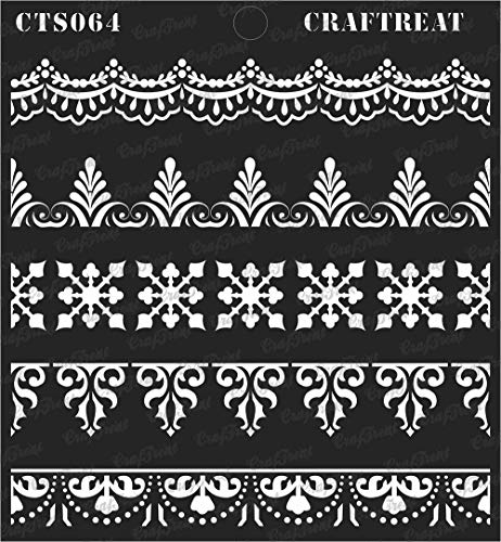 (CrafTreat Stencil - Ornate Borders | Reusable Painting Template for Journal, Notebook, Home Decor, Crafting, DIY Albums, Scrapbook and Printing on Paper, Floor, Wall, Tile, Fabric, Wood 6