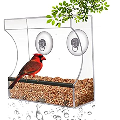 CRYSTAL CLEAR BIRD FEEDER - Suction Window Feeders Birds, Cats and Kids Love - Easy to Clean and Fill - See Cardinals, Finches and Orioles Feed Inches From Kitchen Windows - 100% Money Back Guarantee