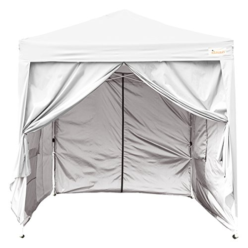 KING Kingbird 8 x 8 ft Easy Pop up Canopy Waterproof Party Tent 4 Removable Walls Mesh Windows with Carry Bag-6 Colors (White)
