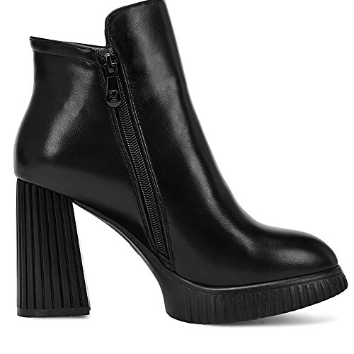 Materials Blend High PU Women's Boots Heels Heels Allhqfashion Rough Black with UtIwqxEn
