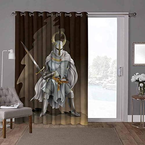 YUAZHOQI Tenda per porta scorrevole extra larga, pannello solido, medievale, figura dal Medioevo, W52 x L26 cm, tenda oscurante per soggiorno (1 pannello)