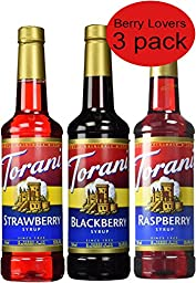 Torani Syrup Berry Lovers 3 Pack, Raspberry, Strawberry and Blackberry