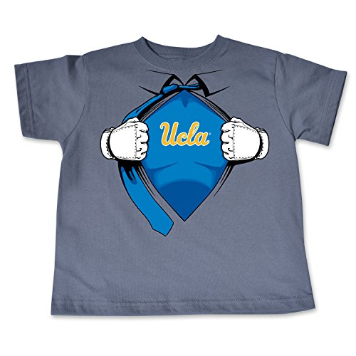 (College Kids NCAA UCLA Bruins Children Short Sleeve Toddler Tee Superhero Sports Fan T Shirt, 5/6, Pewter)