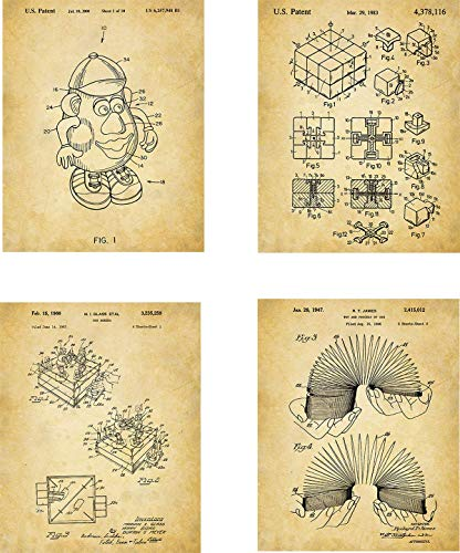 Old Toys Patent Wall Art Prints – set of Four (8×10) Unframed – wall art decor