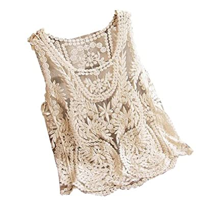 VonFon Women Lace Floral Sleeveless Crochet Knit Vest Tank Top Shirt Blouse