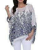 Myosotis510 Women's Chiffon Caftan Poncho Tunic Top Cover up Batwing Blouse (Z-4287)