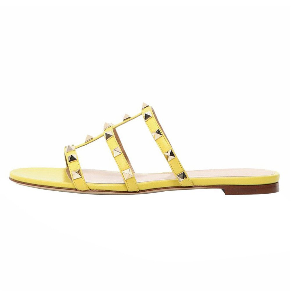 Yellow Matte With gold Rivets VOCOSI Women's Flat Heel Sandals with Rivets Slide Slipper Dress for Casual Summer