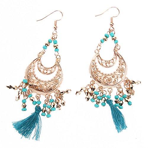 Resin Turquoise Earrings (Diamondo Fringe Dangle Earrings Ethnic Women Retro Tassel Beads Pendant Turquoise (B))