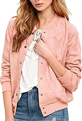Blooming Jelly Women's Faux Seude Ribbed Cuffs Button Down Varsity Jacket Coat