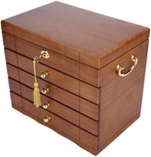ストレージコレクションディスプレイ装飾ボックスを終えロックジュエリー収納ボックス王女のジュエリーボックスシンプルな誕生日の結婚式のギフトとジュエリーボックス木製 H09/25 (Size : Five-layer drawer)